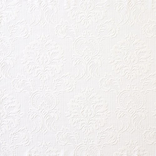 Brewster FD32808 Paintable Solutions III Damask Paintable Wallpaper, 20.5-Inch by 396-Inch, White