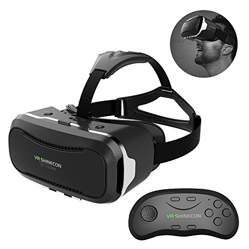 3D VR Glasses Headset Simpper 3D Virtual Reality Box + Smart Bluetooth Remote Control Gamepad With Adjustable Lens Comfortable Leather Patch Support 4.5-6.0 Inch iPhone & Android Smartphones