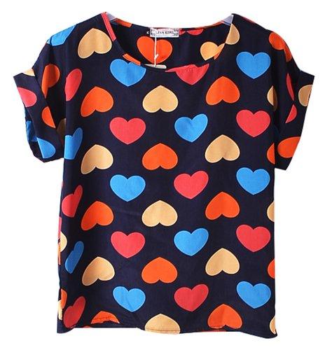 Women Girl Short Sleeve Casual Loose Pattern Print Chiffon Blouse Top T-shirt Navy Blue Love Heart