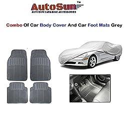 AutoSun Car Body Cover/ Car Foot Mats Set of 4 Pc Grey Maruti Suzuki - Alto (Old)