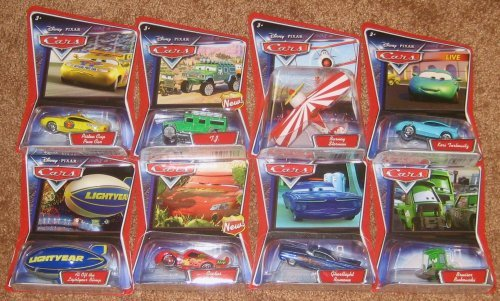 Set of Eight Disney Pixar Cars Character Diecast - Piston Cup Pace Car, Bruiser Bukowski, Ghostlight Ramone, Cactus Mcqueen, Tj Hummer, Barney Stormin, Kori Turbowitz, Al Loft Lightyear Blimp by Mattel