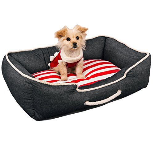 Favorite Square Soft Warm Portable Navy Pet Denim Bed Puppy Dog Cat Sleeping Cushion 29 X 20 X 8 Inches Suits for Travel and Home, Black