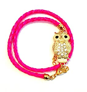Goldtone Crystal Owl Lovers Pink Braid Wrap Around Bracelet
