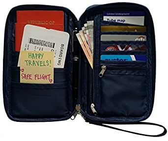 Travel Wallet & Passport Holder by Roomi, an All in One Passport Wallet! (Navy)