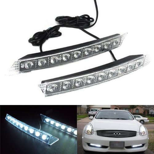 iJDMTOY 9-LED Audi A6 Style LED Daytime Running Lights (DRL) Kit, Xenon White (Audi Style Led Running Lights compare prices)