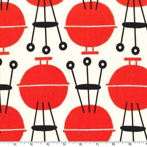 Cookin' Outdoors On The Grill BBQ Fabric Two Yards (1.8M) Cx5886-Crem-D