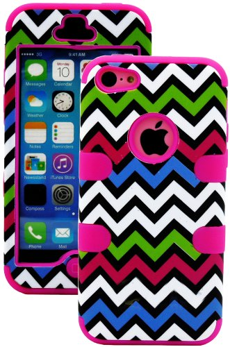 Mylife (Tm) Hot Pink + Colorful Chevron 3 Layer (Hybrid Flex Gel) Grip Case For New Apple Iphone 5C Touch Phone (External 2 Piece Full Body Defender Armor Rubberized Shell + Internal Gel Fit Silicone Flex Protector + Lifetime Waranty + Sealed Inside Mylif