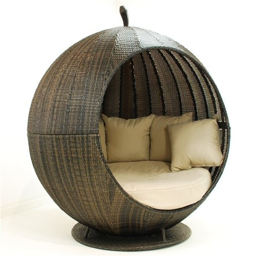 Oak Furniture House Rattan-Gartenmöbel Lounge-Sofa, Apfelform, Braun jetzt bestellen