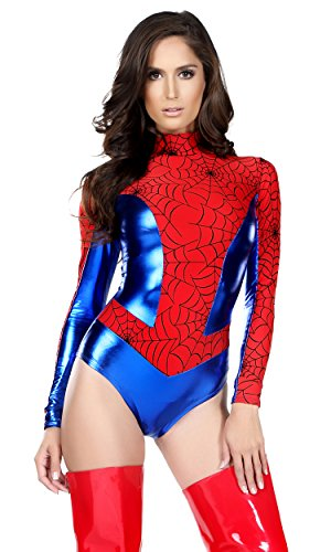 Forplay-Womens-Metallic-Mock-Neck-Bodysuit-with-Spiderweb-Print-Contrast
