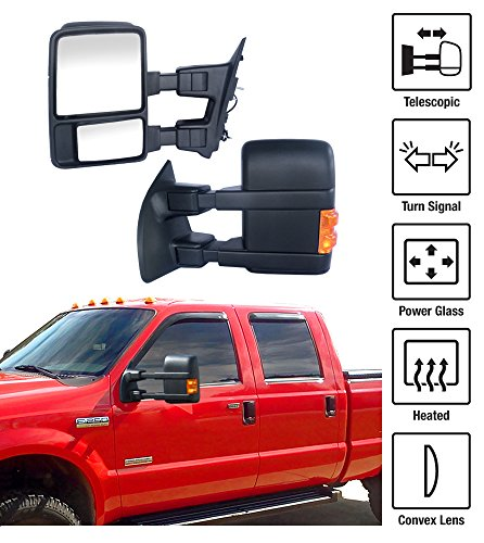 1999-2007 Ford F-250 F-350 Super Duty Towing Mirrors Pair Set Power Heated Glass With Convex Lens LED Turn Signal Telescoping Arms Side View Mirrors (2003 Ford F250 Mirrors Set Tow compare prices)