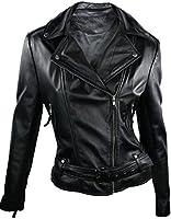 100% Ladies Short Leather Jacket Biker Style Black Retro lapels Doubled Button Collar