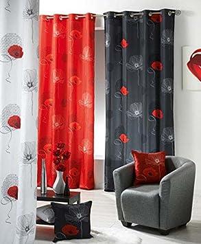 douceur d 39 int rieur 1603559 rideau rideau oeillets imprim douceur de de france poppy. Black Bedroom Furniture Sets. Home Design Ideas