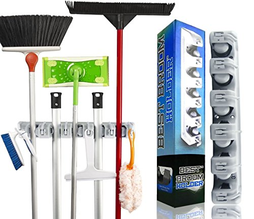 Best Broom Holder The Most Powerful Grippers Mop Broom Holder. 100% Secure Non-Slide & Sturdy Wall Mount Broom Mop Holder & Organizer. Effortless Installation (Screws Included) (Swifter Steam Floor Cleaner compare prices)