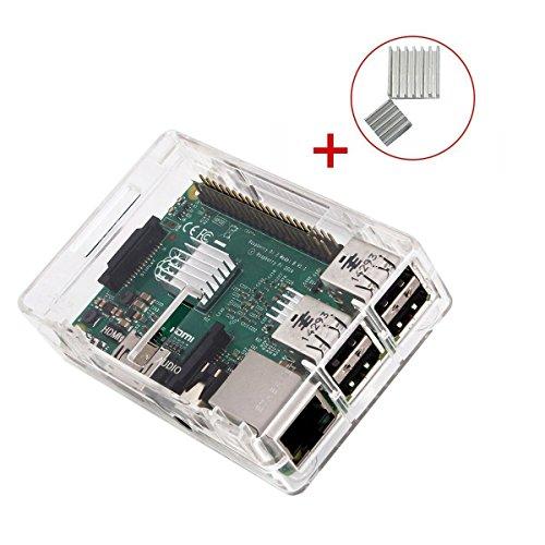 Raspberry Pi 3 case, KuGi ® Raspberry Pi 3 Modello case B - Custodia protettiva del PC di alta qualità con 2x Dissipatori per Raspberry Pi 3 Modello B, Pi 2 Modello B & Pi Modello B + (Pulire)