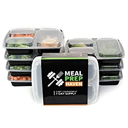 Meal Prep Haven Stackable 3 Compartment Food Containers with Lids by Meal Prep Haven