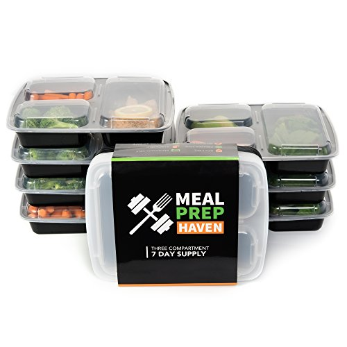 Meal Prep Haven 3 Compartment Food Containers with Airtight Lid, Bento Box, Lunch Box for Meal Prep, 21 Day Fix and Portion Control, Set of 7 (Extreme Blender compare prices)