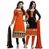 Sanjana Design Women's Cotton Salwar Suit Dress Material (Combo pack of 2) (combo5_Orange&Black)