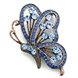 Vintage Style Sapphire Blue Flying Butterfly Austrian Crystal Insect Pin Brooch