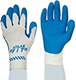 Showa Best 300W Atlas Fit Palm Coating Natural Rubber Glove, 10-Gauge Seamless Knitted Liner