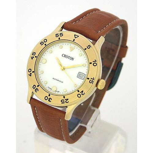 CROTON Men's Swiss Automatic Gold-tone Watch with Brown Leather Strap. Model: CRO-AQU1511