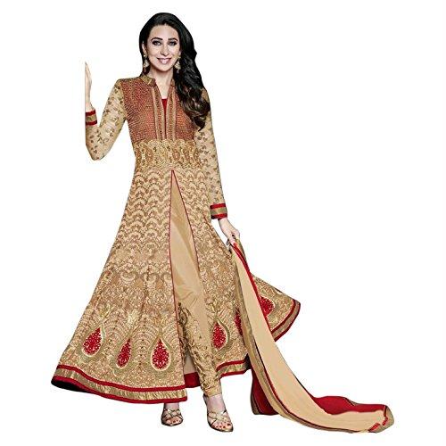 Ustaad Beige Color Beautiful Georgette Embroidery Wedding Indian Anarkali Suit