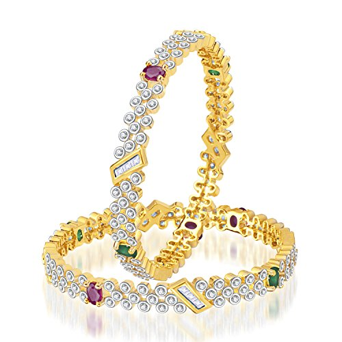 Meenaz MEENAZ EXQUISITE DESIGN RUBY & EMERALD CZ AMERICAN DIAMOND BANGLES BA103 (White)