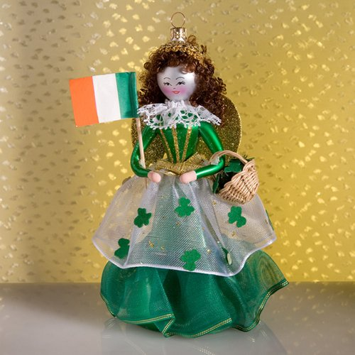 De Carlini Irish Girl Italian glass Christmas tree Ornament