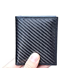 SERMAN BRANDS - RFID Blocking Leather Slim Wallet,Thin Minimalist Front Pocket Wallets For Men Credit Card Holder Carbon Fiber Pull Tab