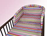 NEW COT BUMPER BABY NURSERY COLOURFUL DESIGNS 120x60cm140x70cm 180 cm Magenta Stripes