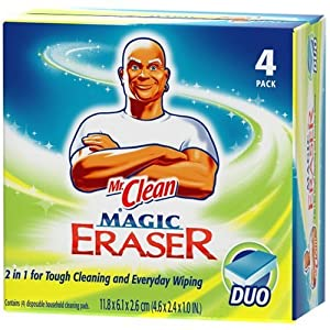 Mr. Clean Magic Eraser Cleaner Cleaning Pads, Duo, 4-Count Boxes (Pack of 3)