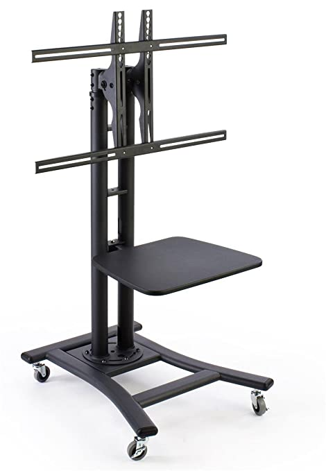 Mobile TV Stand for 37 to 70 inch Flat Screen Monitor, Height-Adjustable, Shelf Included - Black