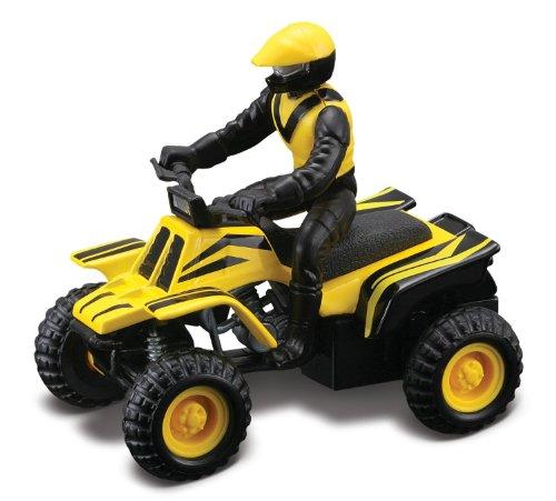 Maisto Racing (Yellow Striped) * Off-Road Series Motorized ATV * 2010 Maisto ATV's Fresh Metal Pull-Back Motor Die-Cast Vehicle - 1