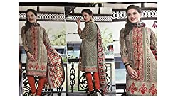 Ample Creations Women's Cotton Unstitched Dress Material (Ample Creations_14_Cream_Free Size)