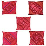 Chic & Comfort My Home MY Life.... Blended Cotton Cushion Cover (Set Of 5 ) (16 Cm X 16 Cm,Red)
