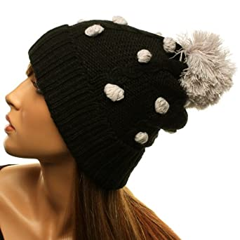 Amazon.com: Winter 3D Polka Dots Pom Pom Cuff Cable Knit