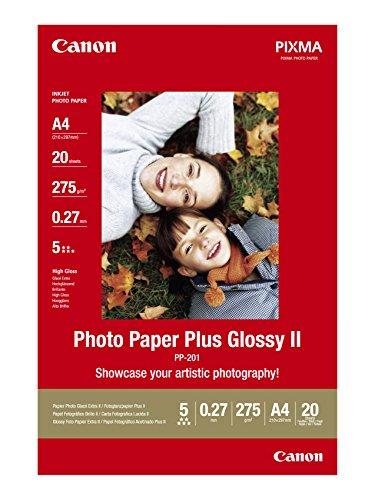Canon PP 201 Photo Paper Plus Glossy II, 20 fogli A4 Carta fotografica