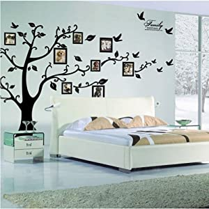 Myhome Large Black Photo Frames(8 Frames Included) on the Tree Branches and Soaring Birds (71inch*98inch)art Wall Stickers and Faimly-lettering Decals for Living Room, for Kids Bedroom