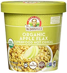 Dr. McDougall\'s Right Foods Apple Flax Oatmeal Made With Organic Gluten Free Oats, 2.3-Ounce Cups (Pack of 6)
