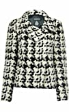 Sutton Studio Womens Wool Blend Snap Front Jacket Black   White
