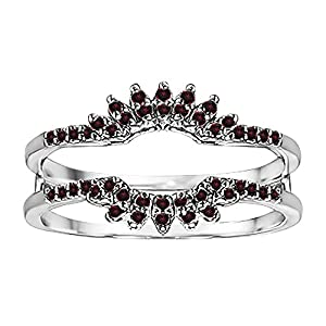 0.22CT Ruby Contoured Wedding Ring Jacket set in Sterling Silver (0.22CT TWT Ruby)