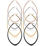 Areke Stainless Steel Oval Teardrop Hoop Earrings For Women,Hypoallergenic Huggie Rose Gold Black Silver Style 4Pairs-40mm