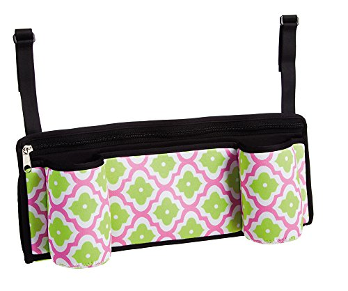 Perfect Pink and Green Quatrefoil Stroller Caddy