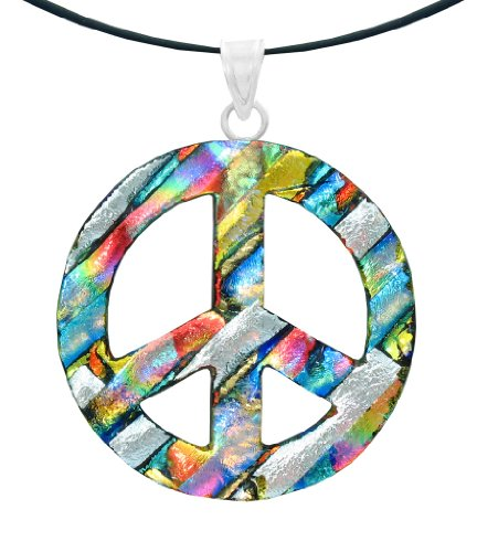 Sterling Silver Dichroic Glass Multi-Color Peace Sign Pendant Necklace on Stainless Steel Wire, 18