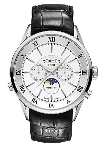 Roamer of Switzerland Superior Moonphase Men's Quartz Watch with White Dial Chronograph Display and Black Leather Strap 508821 41 13 05