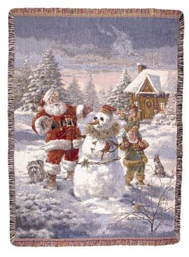 Santa Claus & Elves Christmas Holiday Tapestry Throw Blanket