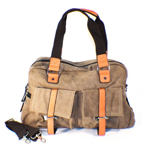 BROWN Thick Canvas Shoulder Bag School Bag PU Pleather Trim! Stylish!