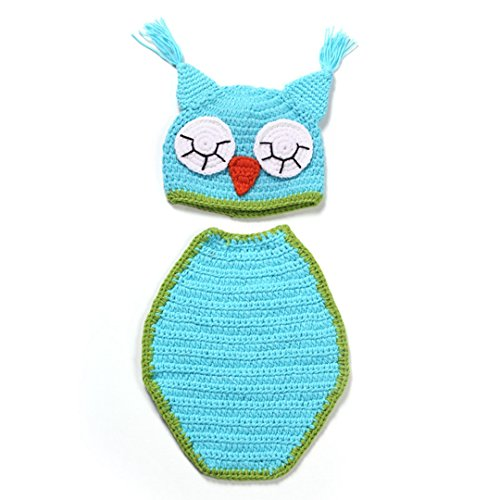 DDLBiz Newborn Baby Cute Owl Cloak Knit Hat Costume Photography Prop Outfit Set
