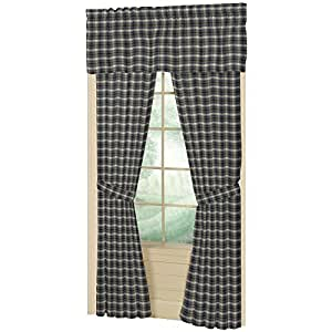 Patch Magic Blue Black Plaid Window Curtain Home Kitchen