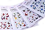 Butterflies Nail Art Water Slide Tattoo Decals, Pack of 4