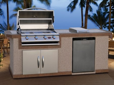 Cal Flame LBK810 Outdoor BBQ Island with 4-Burner Grill/Double Access Doors/Stainless Steel Refrigerator/Side Burner/8-Feet Base (Cal Flame Fridge compare prices)